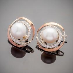 Круглые сережки Фортуна с жемчугом