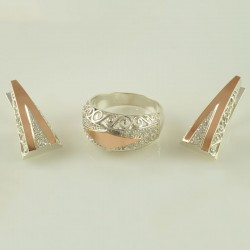 Серебряные украшения Таиса - серьги и кольцо с золотом