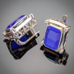 Серебряные серьги Глория (синий)