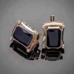 Серебряные серьги Глория (черный)