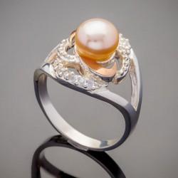 Серебряное кольцо Фуксия с золотом
