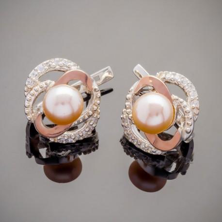 Серебряные сережки Фуксия с жемчугом