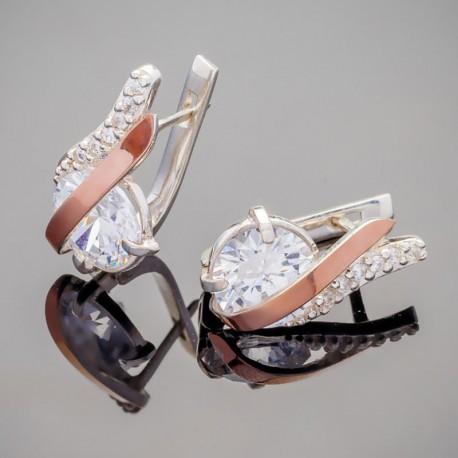 Фламинго - женские серьги из серебра