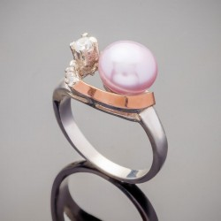 Серебряное кольцо Ассоль с жемчугом