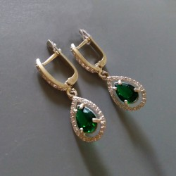 Серебряные сережки Катюша (зеленый)
