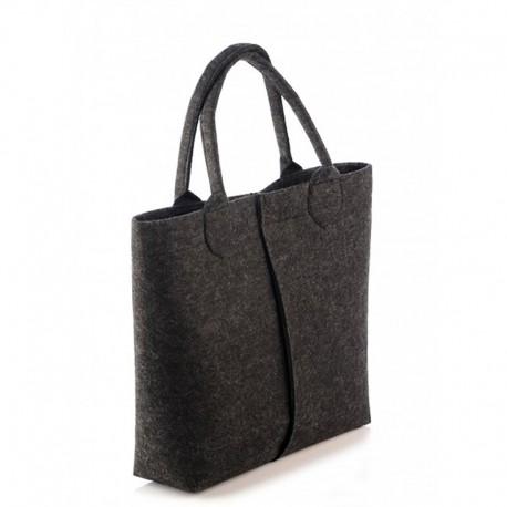 Женская сумка-тоут из войлока, на магните (черная)