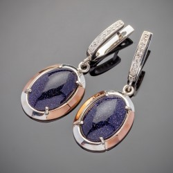 Серебряные серьги Нино (синий)
