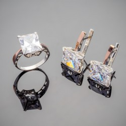 Серебряный набор Тюльпан - кольцо и серьги