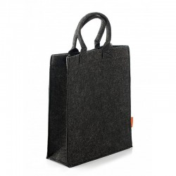Прямая фетровая сумка-пакет, кнопки (черная)