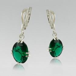 Серебряные серьги Ниагара (зеленый)