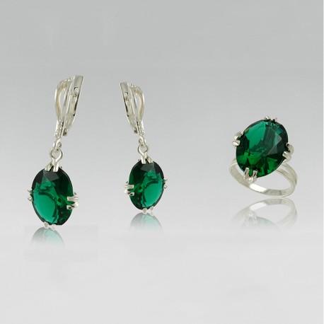 Серебряные украшения Ниагара (зеленый)