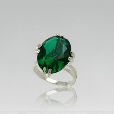 Серебряное кольцо Ниагара (зеленый)