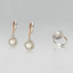 Гарнитур Джули из серебра и золота с жемчугом