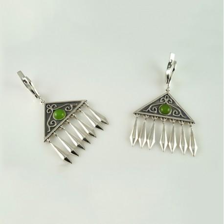 Серебряные серьги в казахском стиле (салатовый)