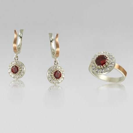 Серебряный набор украшений Тандем (красный)