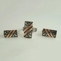 Серебряный комплект украшений с чернением Алма