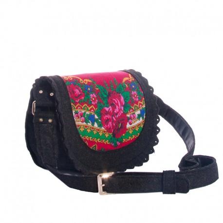 Женская сумка из войлока с платком (красный)