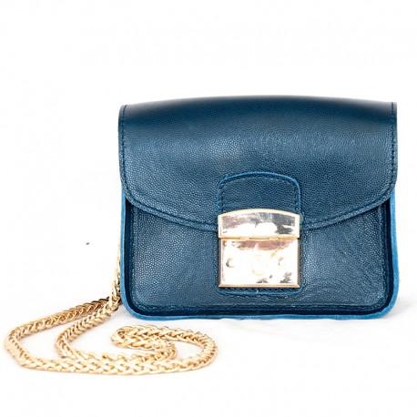 Кожаная сумка-клатч (синий)