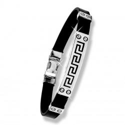 Кожаный браслет с греческим орнаментом