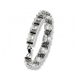 Широкий браслет из серебра с цирконами
