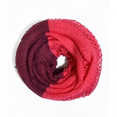 Двухцветный вязаный снуд (розовый)