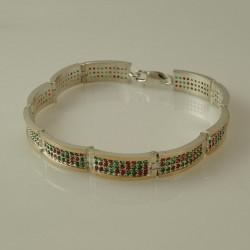 Серебряный браслет с разноцветными камнями цирконами
