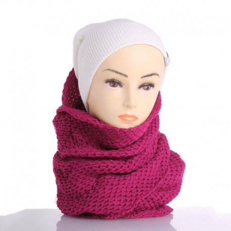 Теплый шарф-снуд с узором (малиновый)