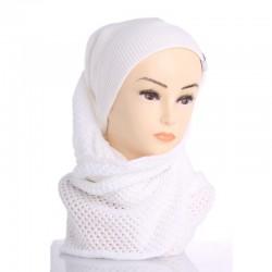 Теплый шарф-снуд с узором (белый)