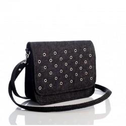 Войлочная сумка-почтальонка с заклепками (черная)