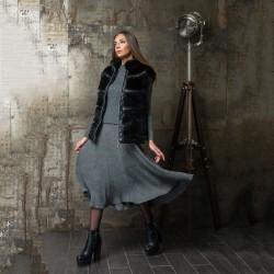 Модный комбинированный жилет из искусственного меха