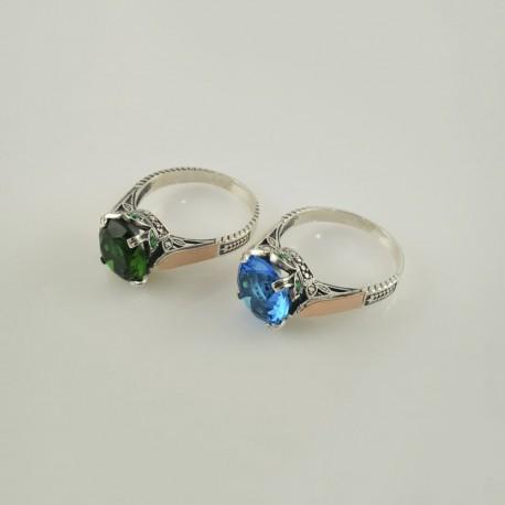 Серебряное кольцо Русалка (зеленый и голубой)