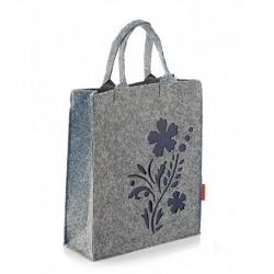 Фетровая (войлочная) сумка-пакет с цветком, на молнии