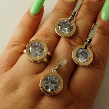 Серебряный набор Королева - серьги, перстень, кулон