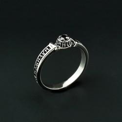 Тонкое серебряное кольцо Спаси (черный)