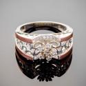 Широкое серебряное кольцо Чудо, фианит