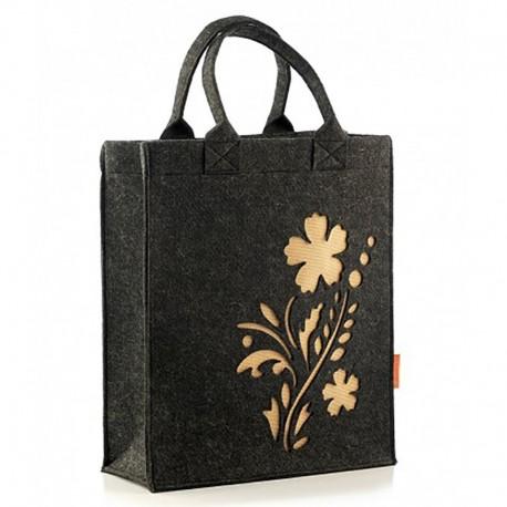 Войлочная сумка с цветком, на кнопке (черная)