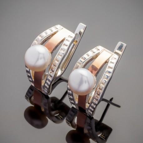 Серебряные серьги Аврора с жемчугом