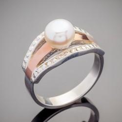 Женское кольцо Аврора с жемчугом