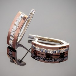 Серебряные серьги Моника с золотом