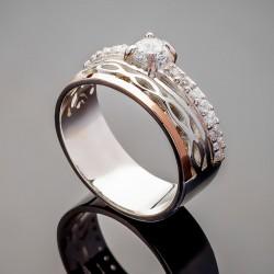 Серебряное колечко Франческа с золотом