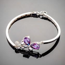 Тонкий серебряный браслет Шерри с камнями