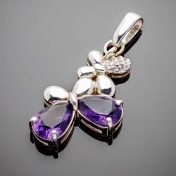 Серебряный кулончик ШЕРРИ с камнями (аметист)