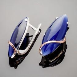 Серебряные серьги Версаль с кабошоном