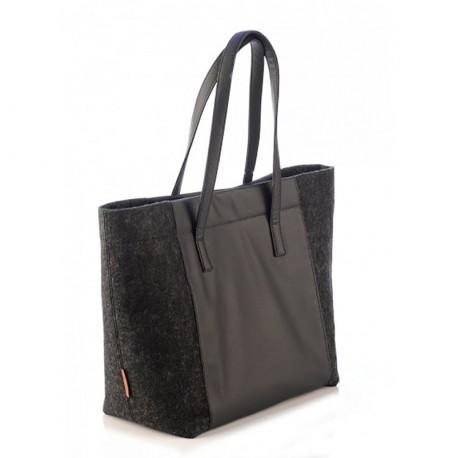 Средняя сумка женская из войлока и эко-кожи, 34/45х34х13 см