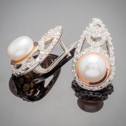 Серебряные сережки Лаура с жемчугом