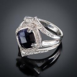 Серебряное кольцо Александрия с авантюрином
