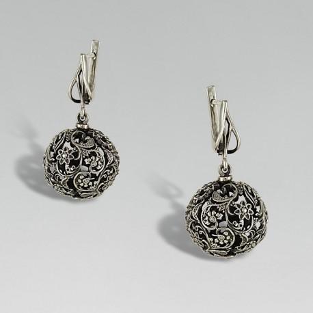 Серебряные серьги бусины Медея