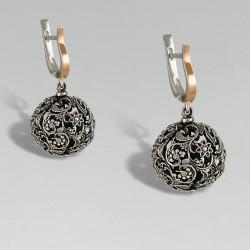 Серебряные серьги Фрида с золотом