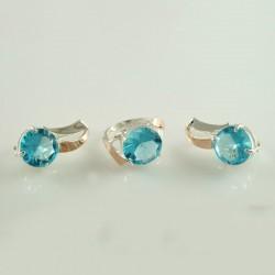 Серебряный набор Белла с голубыми камнями