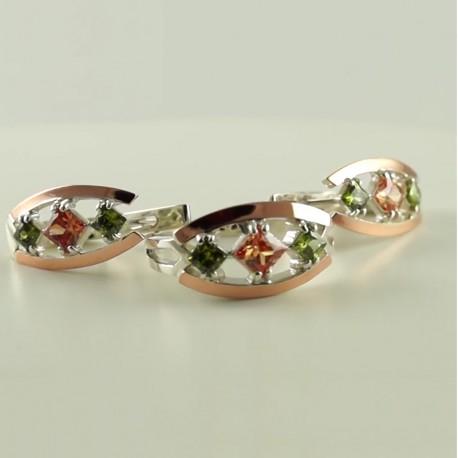 Серебряные украшения Секвойя с золотом